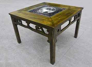 仿古雕花中式火锅桌 实木火锅餐桌