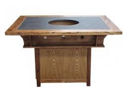 实木边框镶嵌大理石火锅桌