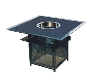 铁底框人造大理石台面电磁炉火锅桌