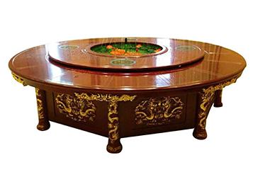 古典欧式实木雕刻电动餐桌