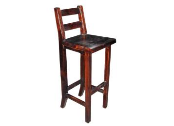 火烧实木 欧式仿古 炭化高脚酒吧椅