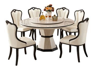欧式象牙白大理石圆餐桌