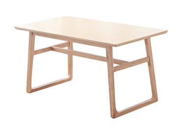 北欧纯白蜡全实木长方形桌子