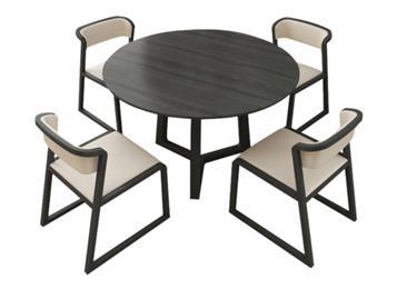北欧全实木圆形餐桌椅组合