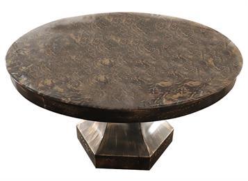 黑色菱形五金桶脚古典铁艺仿古大理石圆餐桌