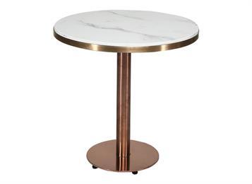 简约现代北欧大理石面圆桌不锈钢休闲咖啡厅会