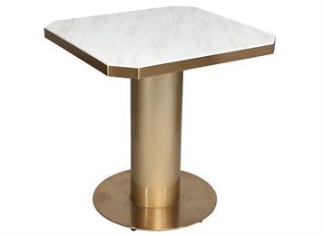 北欧方形洽谈桌不锈钢大理石接待台餐桌金属咖