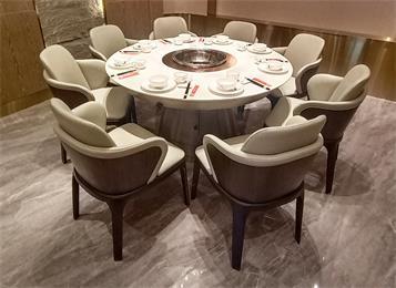 火锅店电磁炉大理石八人位圆形火锅桌
