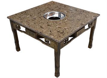 小龙坎实木复古雕花电磁炉下沉式大理石火锅桌
