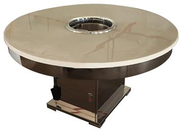 大理石圆形电磁炉火锅桌