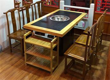 中式实木镶嵌火烧石桌面