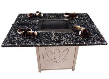 大理石餐台饭桌烤涮炉桌自助火锅餐厅大理石烧