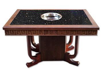 实木边框镶嵌复古黑金沙大理石火锅桌电磁炉串