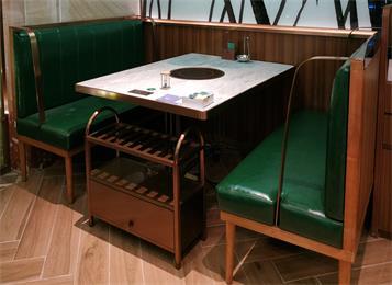 不锈钢封边大理石台面小清新电磁炉火锅桌