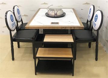 实木边框镶嵌大理石海鲜蒸汽火锅桌