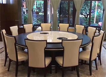 中式大理石雕花12人14人圆转盘或转盘电磁炉餐桌