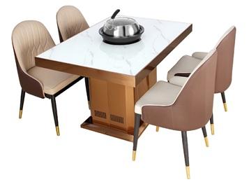 高档海鲜餐厅蒸汽火锅餐桌_大理石蒸汽火锅桌