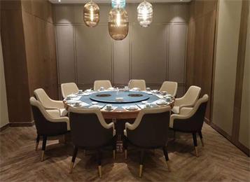 火锅店包厢带电磁炉火锅转盘12人电动餐桌