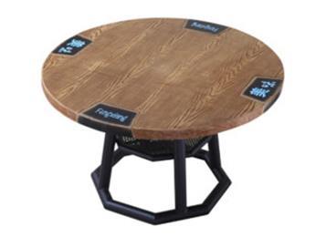 湘菜馆大圆桌印字铁艺实木桌子