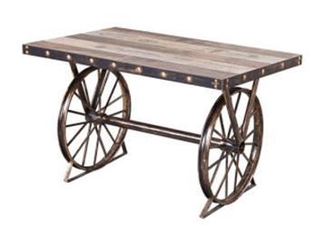 美式乡村复古做旧实木铁艺车轮长桌