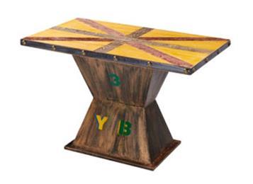 复古做旧彩色 实木休闲餐桌