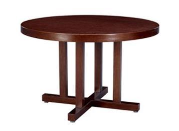 新中式饭店包厢餐桌 现代简约实木圆形餐桌