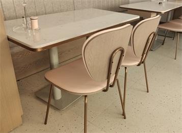 中式餐厅现代风格不锈钢大理石餐桌