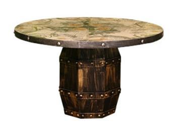 美式乡村实木圆形餐桌餐台饭桌