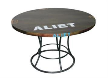 美式乡村实木餐桌_复古做旧铁艺松木餐桌圆桌