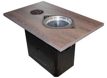 实木方形花纹桌面黑色方