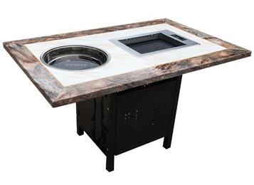 2018新款大理石自助火锅烤肉桌子 烤涮一体电磁炉
