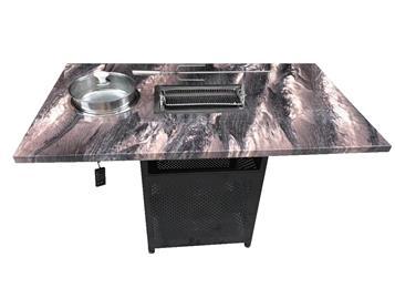 大理石无烟自助烧烤桌子