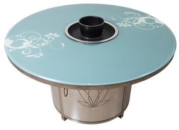 钢化玻璃台面无烟烧烤桌子_不锈钢烧烤桌_自助烤