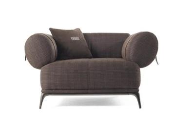 休闲会所客房意式休闲棉麻布艺单人沙发椅
