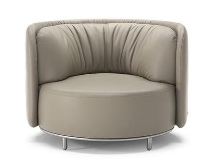 会所意式不锈钢皮革圆形单人位沙发椅
