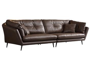 豪华会所现代轻奢意式简约皮革卡座沙发
