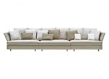 私人会所现代时尚皮革意式三人位沙发