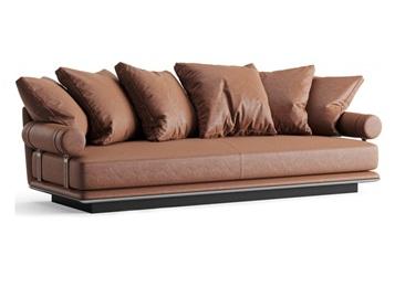 高档会所现代创意意式皮革直排沙发