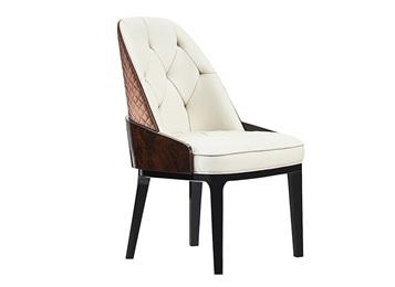 会所轻奢皮艺软包实木靠背椅子