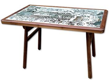 中餐厅饭店酒楼个性复古实木青花瓷餐桌椅