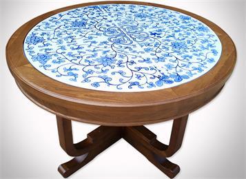 会所酒楼青花瓷实木餐桌