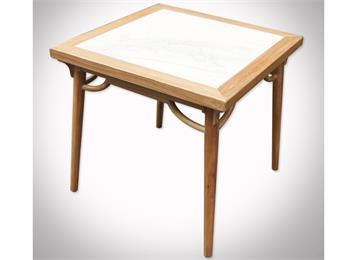 会所新中式实木包边大理石餐桌