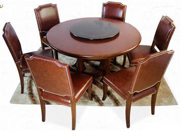 美式乡村实木餐桌椅组合圆形餐桌带转盘圆桌