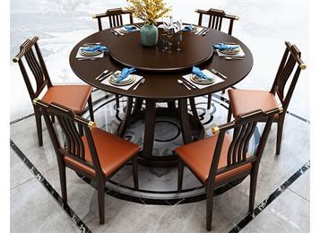 现代中式会所酒店实木桌