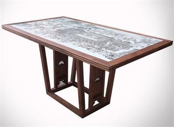 古典绿茶餐厅酒楼黑白青花瓷桌实木雕花复古餐