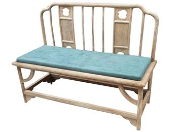 茶楼会所榆木皮艺软包双人椅