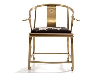中餐厅钛金不锈钢轻奢现代餐椅