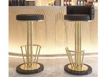 现代酒吧轻奢钛金不锈钢高吧椅