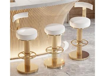 北欧酒吧创意不锈钢轻奢靠背高脚椅子