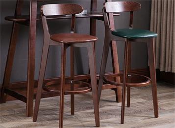 北欧酒吧靠背椅子现代简约实木高脚凳酒吧椅凳